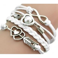 Armband Infinity, hjärta & hjärta med pil