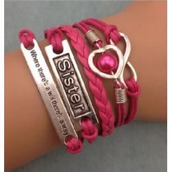 Armband Infinity, hjärta med pärla & text