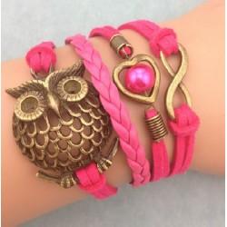 Armband Infinity, hjärta med pärla & uggla
