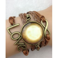 Armband Infinity, text: LOVE & amulett (galaxy)