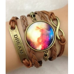 Armband Infinity, text: DREAM & amulett (galaxy)