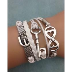 Armband Lås (hjärtformad), Nyckel & spänne