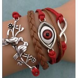 Armband Infinity, öga & fåglar
