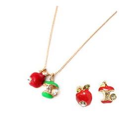 Halsband och 1 par örhängen äpple