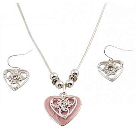 1st Halsband och 1 par örhängen, hjärta