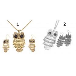 1st Halsband och 1 par örhängen, uggla