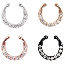 Single Line Paved Gem Non-Piercing Septum Hanger