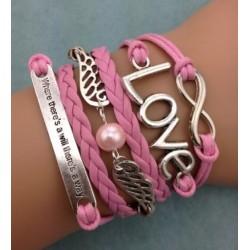 Armband Infinity, LOVE, vingar & text
