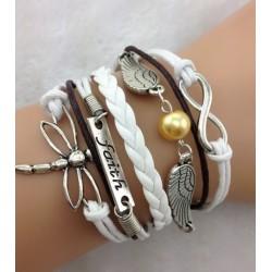 Armband Infinity, vingar med pärla, faith & trollslända