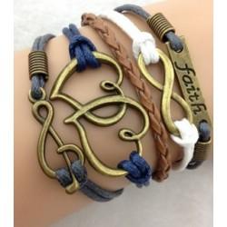 Armband Faith, Infinity, hjärtan & G-klav
