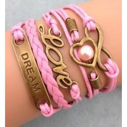 Armband Infinity, LOVE, hjärta med pärla & Dream