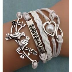Armband Infinity, LOVE, fåglar & hjärta med pärla