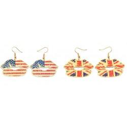 1 Par örhänge pussmun USA eller UK style