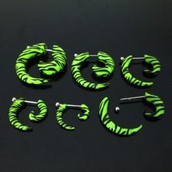 1 par fake plugg/piercing 3mm-8mm, zebrarandig, Grön & Svart