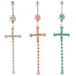 Navelpiercing kors med hängande stenar