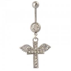 Navelpiercing kors med vingar