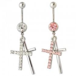 Navelpiercing med 2 hängande kors