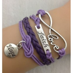 Armband LOVE & text: faith och Hope