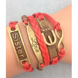 Armband Infinity, Love, text: SISTER