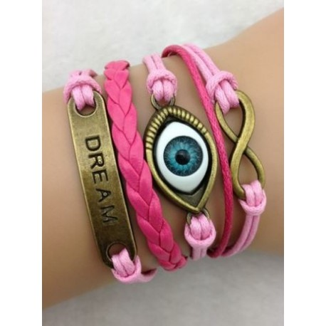 Armband Infinity, öga & text: DREAM