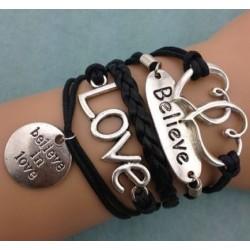 Armband Hjärtan, Believe, LOVE & symbol