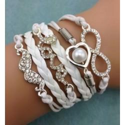 Armband Infinity, hjärta med pärla, mustasch & love