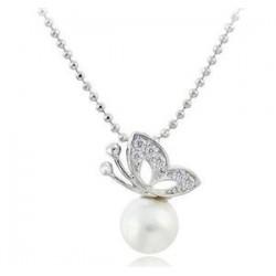 Halsband fjäril med pärla