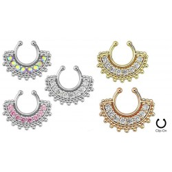 Large Paved Gem Fan Non-Piercing Septum Hanger