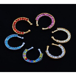 Single Line Paved Gem Gold IP Non-Piercing Septum Hanger