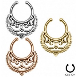 Crescent with Swirls Inside Non-Piercing Septum Hanger