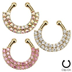 Double Line Paved Gem Gold IP Non-Piercing Septum Hanger