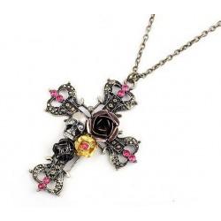 Halsband kors med rosor
