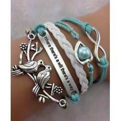 Armband fåglar, hjärta med pärla & text