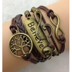 Armband Träd, Believe, G-klav, infinity