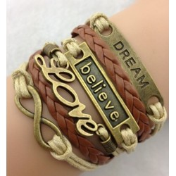 Armband Dream, Believe, Love & Infinity