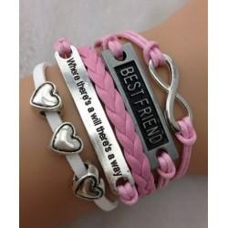 Armband Infinity, Best friend, hjärtan & text
