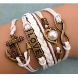 Armband Infinity, LOVE, hjärta med pärla & ankare